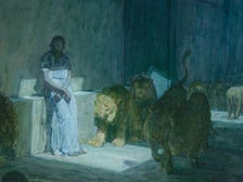 """""""Daniel in the Lions' Den"""" by Henry Ossawa Tanner at LACMA"""