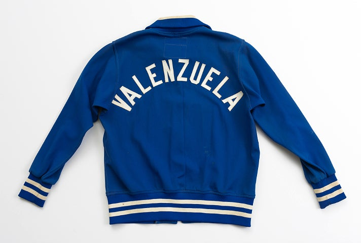 """Fernando Valenzuela's warm-up jacket from """"Chasing Dreams"""" at Skirball Cultural Center"""