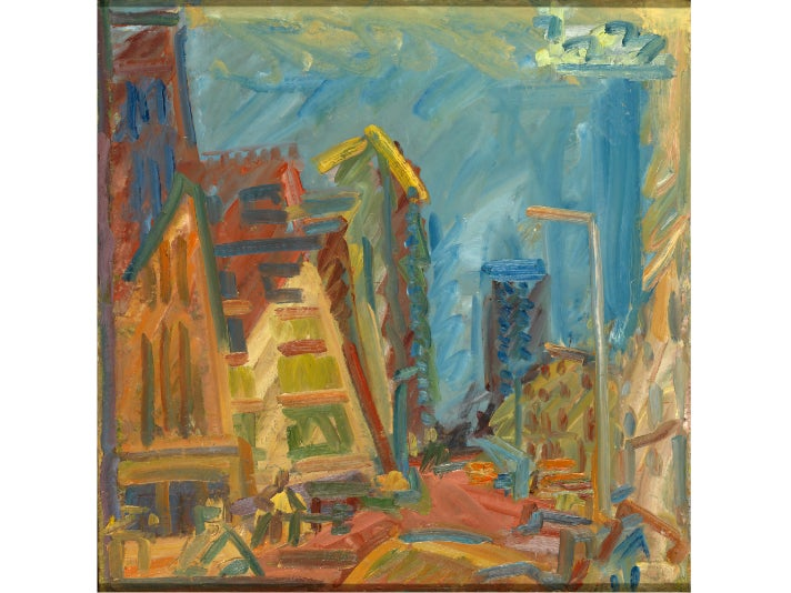 """Mornington Crescent—Summer Morning,"" 2004, Frank Auerbach at the Getty Center"