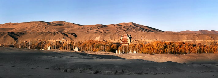 """Autumn view of Mogao from """"Caves of Dunhuang"""" at the Getty Center"""