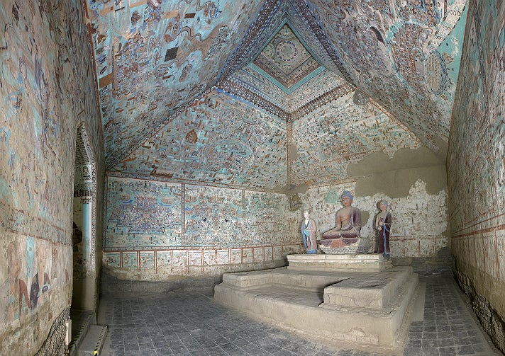 """Cave 85, view of the interior, from """"Cave Temples of Dunhuang"""" at the Getty Center"""