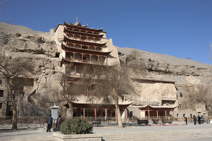 """Nine-story temple (Cave 96) at Mogao, from """"Cave Temples of Dunhuang"""" at the Getty Center"""