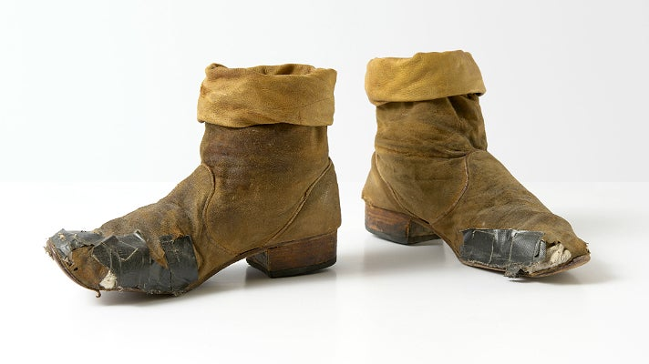 """Boots worn by Keith Richards during the Rolling Stones' 1981 """"Tattoo You"""" tour"""