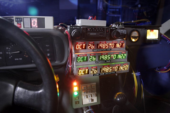 "Interior of the ""Back to the Future"" DeLorean at Petersen Automotive Museum"