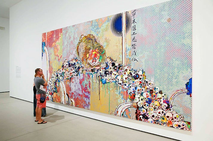 "Takashi Murakami, ""Of Chinese Lions, Peonies, Skulls, and Fountains"" (2011) at The Broad"