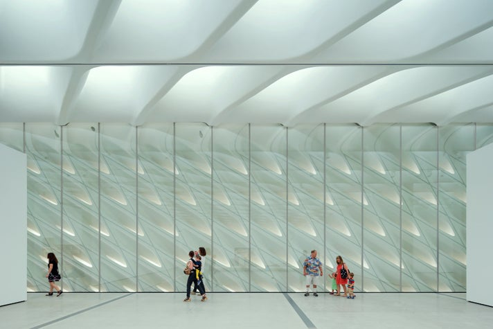 The Broad museum's third floor galleries with skylights and interior veil