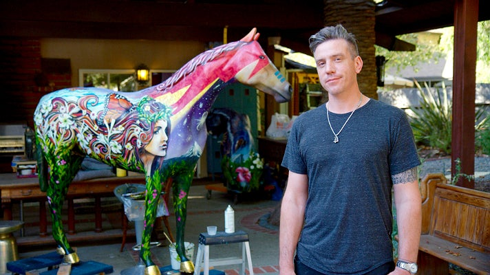 "Clinton Bopp at his studio with ""Stardust"""