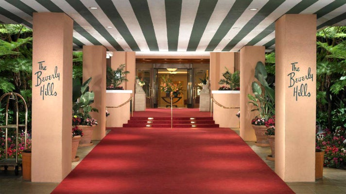 Red carpet entrance to The Beverly Hills Hotel