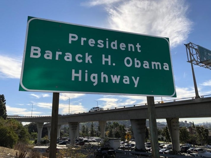 Barack H. Obama Highway sign