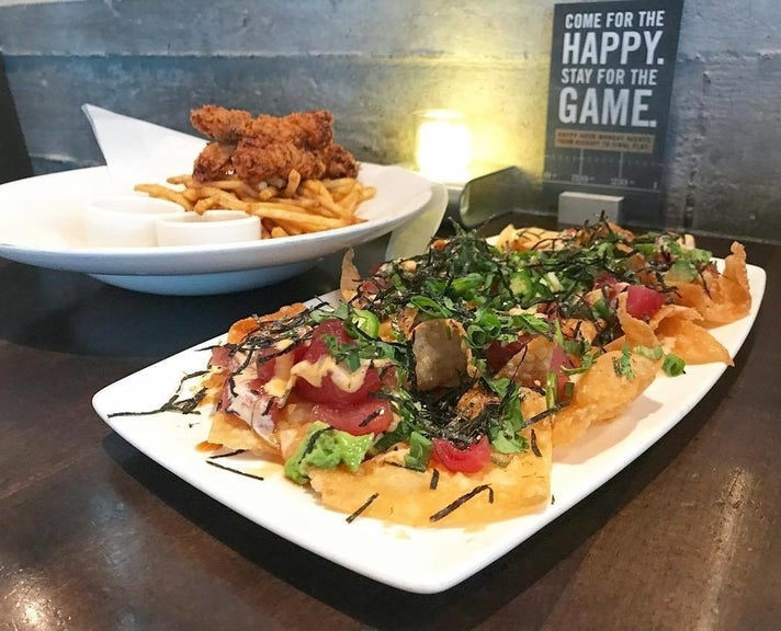 Poke Nachos and Fried Chicken Tenders at Yard House