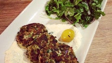 Zucchini and feta fritters at Momed