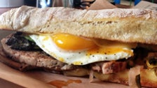 """Breakfast"" sandwich at Playa Provisions"