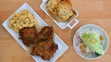Honeybird 3-piece fried chicken lunch with chipotle macaroni salad, wedge salad and Honeybird biscuits