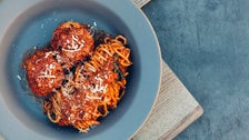 Spaghetti and meatballs with Sunday gravy at Knead & Co