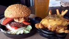Tommy Lasorda Burger with Beast Fries at Plan Check Fairfax