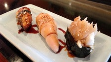 Unagi (freshwater eel), squid stuffed with crab, butterfish at Sushi Spot