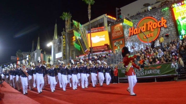 Marching band at the 83rd Annual Hollywood Christmas Parade
