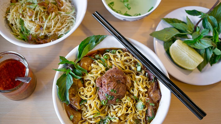 Beef stew egg noodles at Kim Kee Noodle House