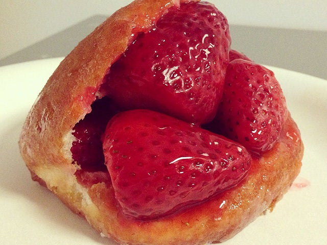 Strawberry stuffed donut at The Donut Man
