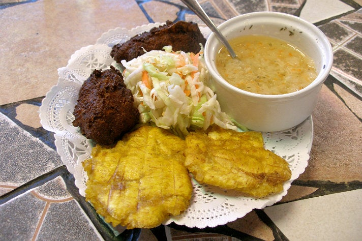 Acra and plantains at TiGeorges' Chicken