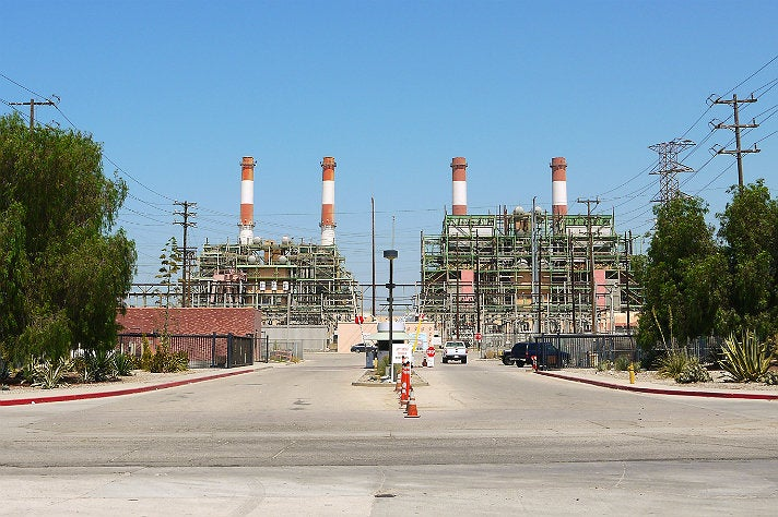 """Black or White"" smokestacks at the LADWP Valley Generating Station"