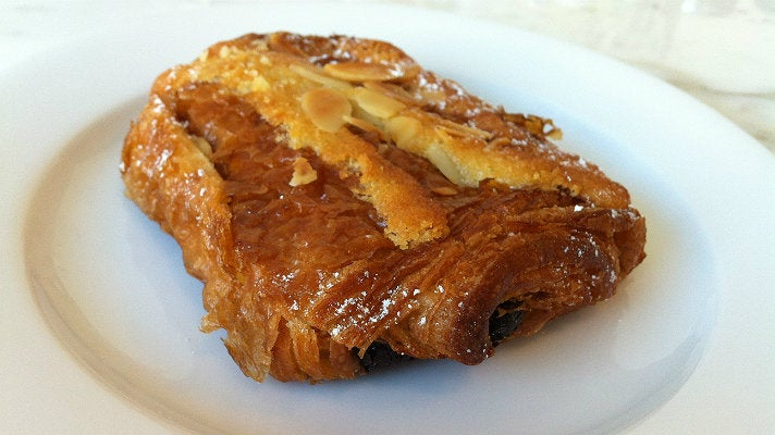 Almond chocolate croissant at Chaumont Bakery