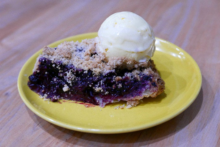 Blueberry streusel pie at Here's Looking At You