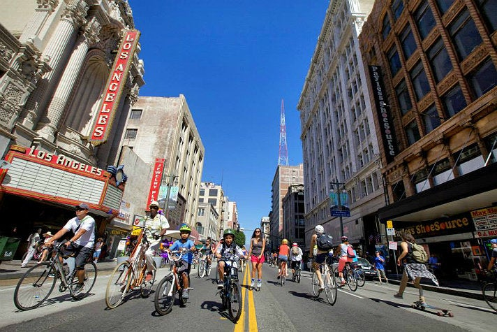 CicLAvia riders on Broadway in Downtown L.A.