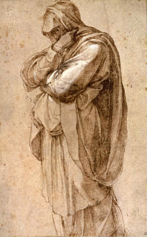 """Michelangelo Buonarroti, """"Study of a Mourning Woman"""" at the Getty Center"""