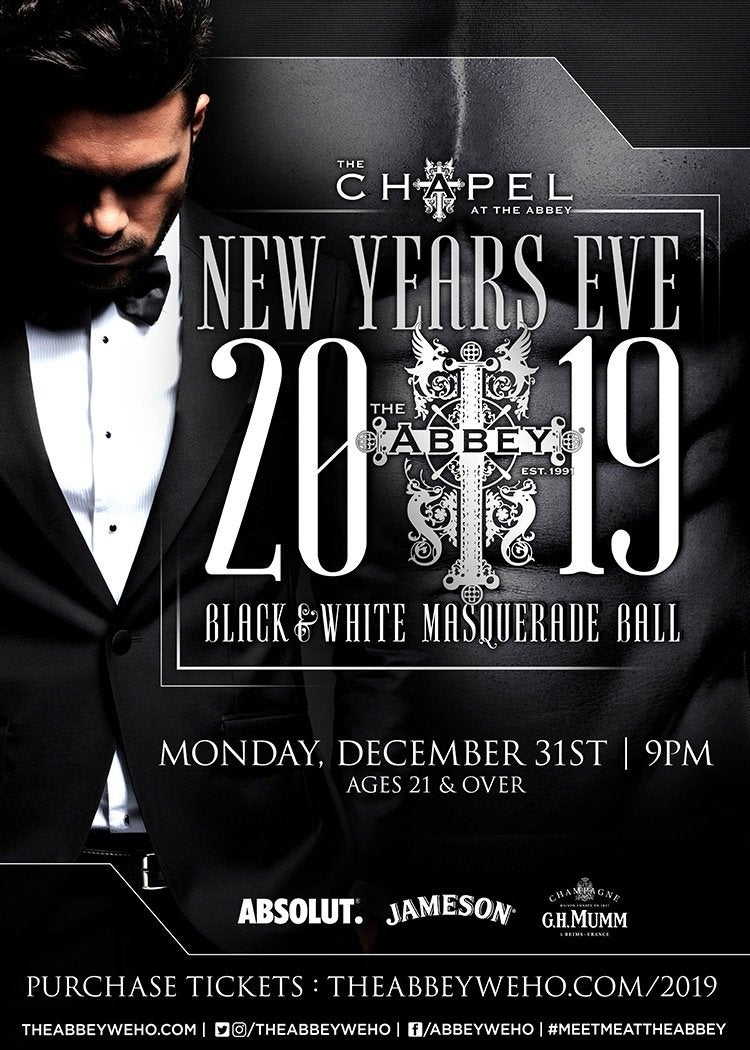 The Abbey Black & White Masquerade Ball NYE 2019